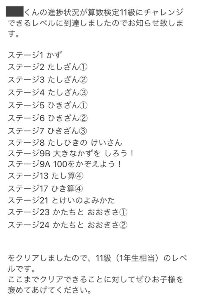RISU算数 算数検定マスター判定